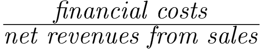 Formula for financial costs ratio: financial costs / net revenues from sales